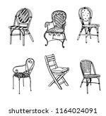 set of chairs. vector sketch.... | Shutterstock .eps vector #1164024091