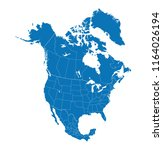 map of north america with... | Shutterstock .eps vector #1164026194
