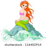 beautiful mermaid girl sitting ... | Shutterstock .eps vector #116402914