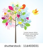 asbtract tree with cute birds | Shutterstock .eps vector #116403031