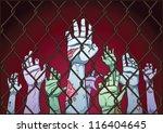 creepy zombie hands behind a... | Shutterstock .eps vector #116404645
