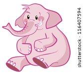 Cute Elephant Pink Vector