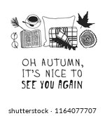 hand drawn autumn illustration... | Shutterstock .eps vector #1164077707