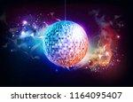disco ball. disco ball on open... | Shutterstock .eps vector #1164095407