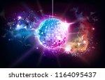 disco ball. disco ball on open... | Shutterstock .eps vector #1164095437