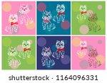 vector set of 6 cute patterns... | Shutterstock .eps vector #1164096331