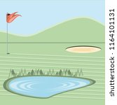 golf curse with sand trap and... | Shutterstock .eps vector #1164101131