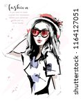 hand drawn beautiful young... | Shutterstock .eps vector #1164127051