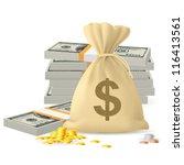 raster version. piles of money... | Shutterstock . vector #116413561