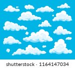 vector set of cartoon clouds... | Shutterstock .eps vector #1164147034