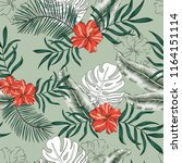 tropical palm leaves  red... | Shutterstock .eps vector #1164151114