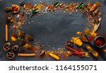 various kind of indian spices ... | Shutterstock . vector #1164155071