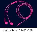 magenta earphones on dark blue... | Shutterstock . vector #1164159637