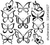Various Butterflies  Black...
