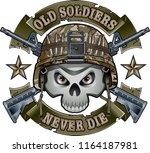 human skull with military... | Shutterstock .eps vector #1164187981