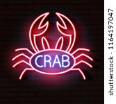 crab sign with neon light...