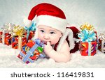 Cute Little Santa Baby With Ne...