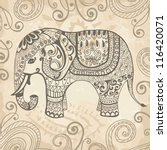 Stock vector stylized fantasy patterned elephant hand drawn vector illustration can be used separately from 116420071
