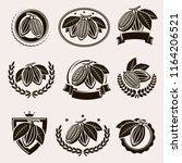 cacao beans label and icons set.... | Shutterstock .eps vector #1164206521