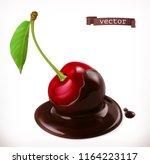 cherry in chocolate. 3d... | Shutterstock .eps vector #1164223117