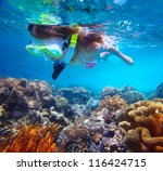 young woman snorkeling over... | Shutterstock . vector #116424715