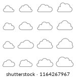 cloud shapes collection  thin... | Shutterstock .eps vector #1164267967