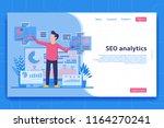 seo analytics landing page.... | Shutterstock .eps vector #1164270241