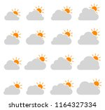 mostly cloudy icon on white...