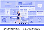 businesswoman with cart buys a... | Shutterstock .eps vector #1164359527