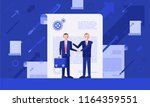 two businessmen with handshake... | Shutterstock .eps vector #1164359551