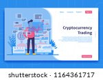 cryptocurrency trading landing... | Shutterstock .eps vector #1164361717