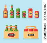 set of beer bottles  cans and... | Shutterstock .eps vector #1164371287