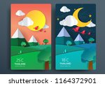 day and night nature landscape... | Shutterstock .eps vector #1164372901