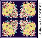 unusual scarf floral print.... | Shutterstock . vector #1164385591