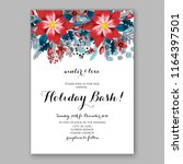 red poinsettia christmas party...   Shutterstock .eps vector #1164397501