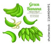 green banana fruit set | Shutterstock .eps vector #1164404491