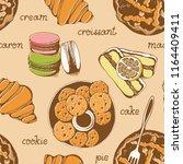 bakery  sweet pastry vector... | Shutterstock .eps vector #1164409411