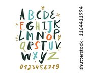 vector hand drawn color font ... | Shutterstock .eps vector #1164411994