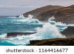 rough seas around the cliffs of ... | Shutterstock . vector #1164416677