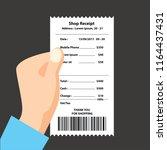 mobile phone receipt printed ... | Shutterstock .eps vector #1164437431