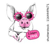cute pig in a pink flowers... | Shutterstock .eps vector #1164449671