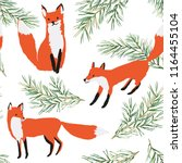 red foxes in the woodland ... | Shutterstock .eps vector #1164455104