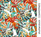 tropical trees. seamless... | Shutterstock .eps vector #1164459601