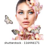beautiful girl with orchid... | Shutterstock . vector #116446171