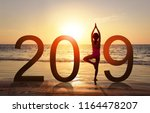 happy new year card 2019.... | Shutterstock . vector #1164478207