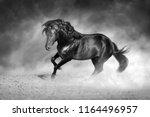 dark stallion free in motion.... | Shutterstock . vector #1164496957