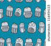 seamless pattern with owls | Shutterstock .eps vector #116454115