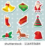 cute christmas stickers set | Shutterstock .eps vector #116455684