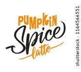 pumpkin spice latte. hand drawn ... | Shutterstock .eps vector #1164566551