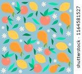 vector pattern of apples  pears ... | Shutterstock .eps vector #1164581527